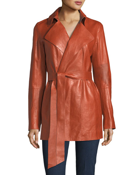 Lafayette 148 New York Hadley Leather Trench Coat