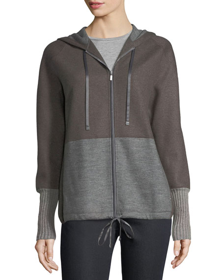 Lafayette 148 New York Zip-Front Colorblocked Wool-Blend Jersey