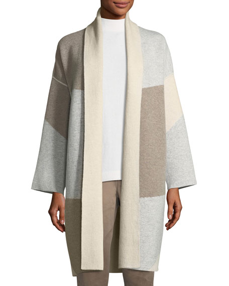 Lafayette 148 New York Felted Colorblocked Cashmere Cardigan
