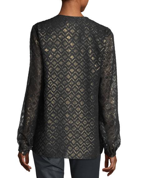 Eli Metallic Geometric Mineralized Cloth Blouse