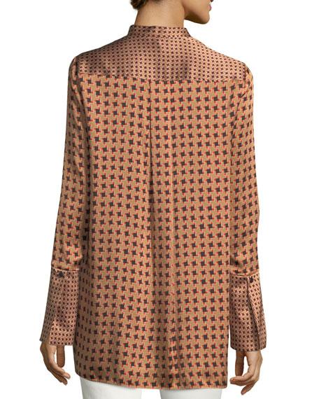 Desra Bell-Sleeve Highgate Herringbone Silk Blouse