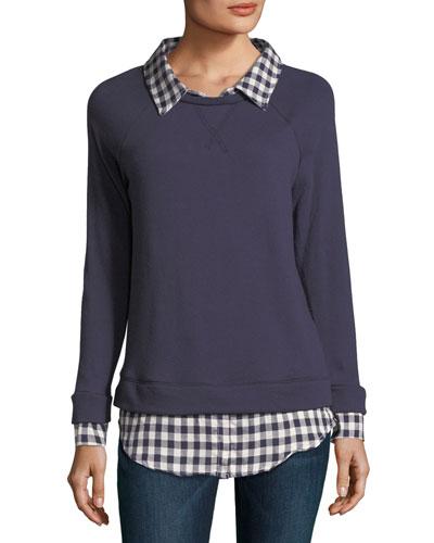 Diadem Combo Sweater w/ Check Shirting