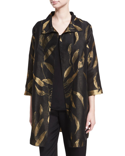 Gold Leaf Jacquard Party Jacket, Plus Size