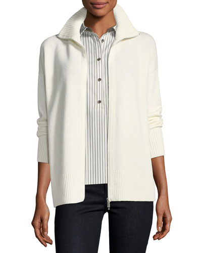Zip-Front Cashmere Sweater