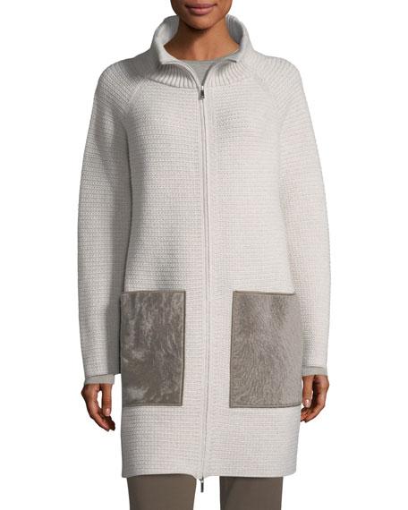 Oversized Knit Cardigan Coat w/ Shearling Pockets