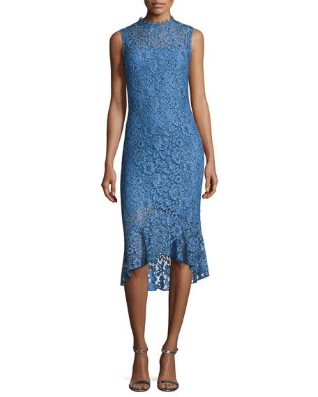 Shoshanna Drayton Sleeveless Lace Midi Sheath Dress, Sky/Black
