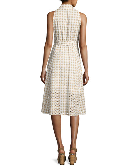 Ashland Sleeveless Belted Gingham Eyelet Dress, Sand
