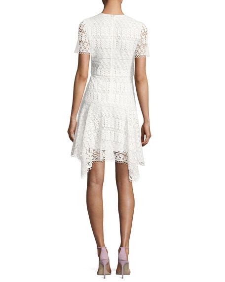 Laguna Short-Sleeve Lace Handkerchief Dress, Ivory