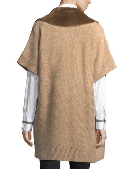 Shearling Fur-Trimmed Oversized Cardigan