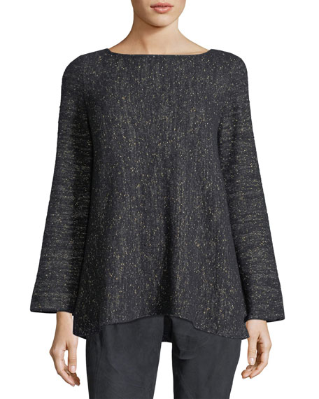 Lafayette 148 New York Bateau-Neck Cashmere-Blend A-Line Sweater