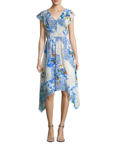 Curran V-Neck Floral-Print Midi Dress