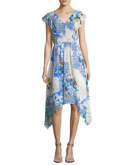 Shoshanna Curran V-Neck Floral-Print Midi Dress