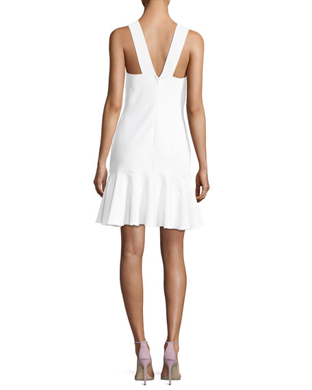 Monterey Halter-Neck Flounce-Hem Dress, Optic
