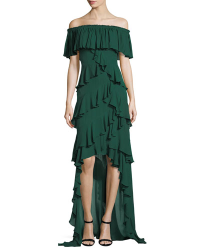 Off-the-Shoulder Ruffled High-Low Gown