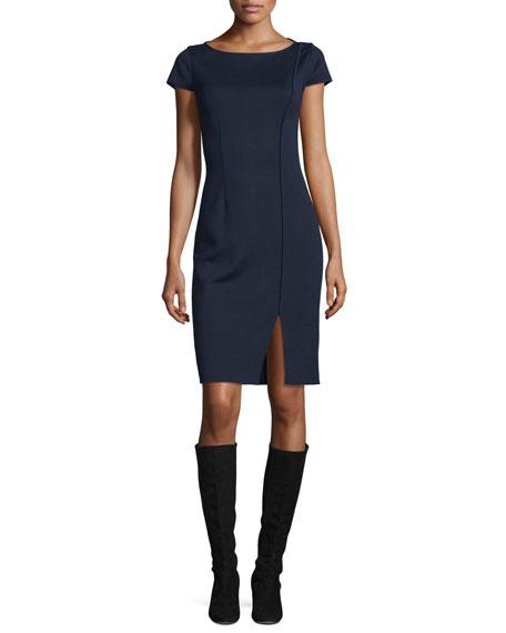St. John Collection Milano Boat-Neck Cap-Sleeve Dress