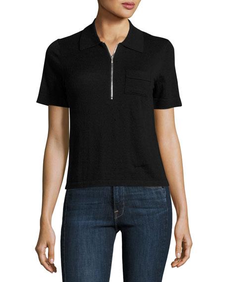 FRAME Polo Zip Sweater, Noir