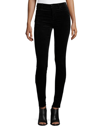 Mid-Rise Super Skinny Velvet Pants, Black