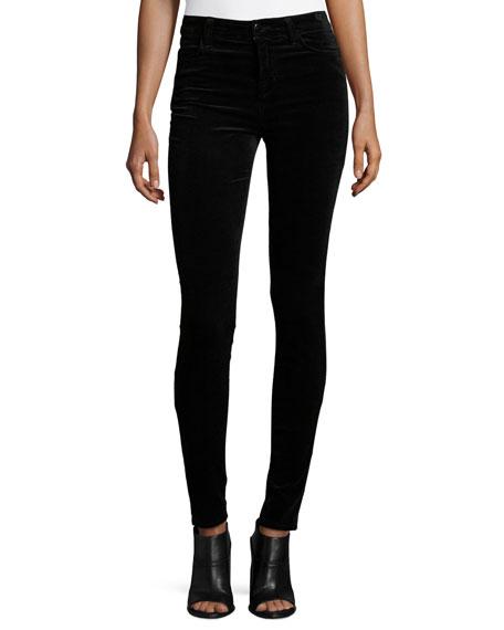 Mid-Rise Super Skinny Velvet Pants, Black