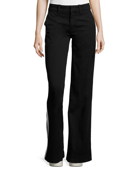 Hudson Joplin Wide-Leg Trousers w/Track Stripe, Black