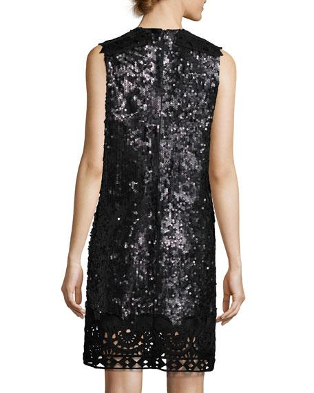 Sleeveless Sequin & Lace Shift Dress