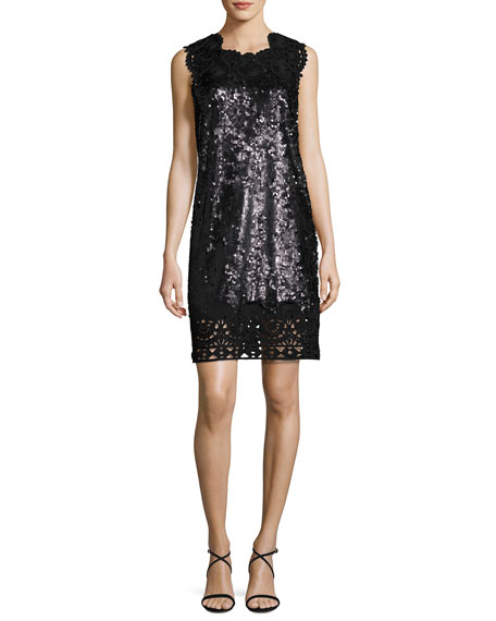 Sleeveless Sequin & Lace Shift Dress
