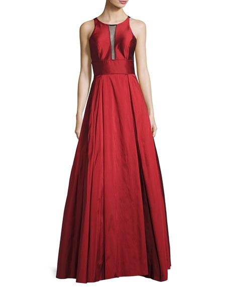 Aidan Mattox Sleeveless Pleated Taffeta Gown