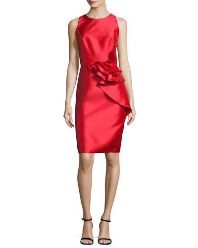 Sleeveless Ruffle-Trim Satin Cocktail Dress, Lipstick