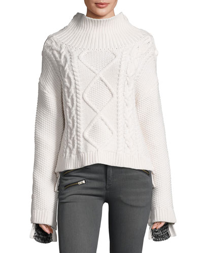 Ida Two-Tone Cashmere Sweater, Ivory