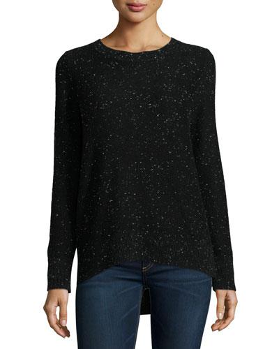 Tamara Melange Cashmere Sweater, Black