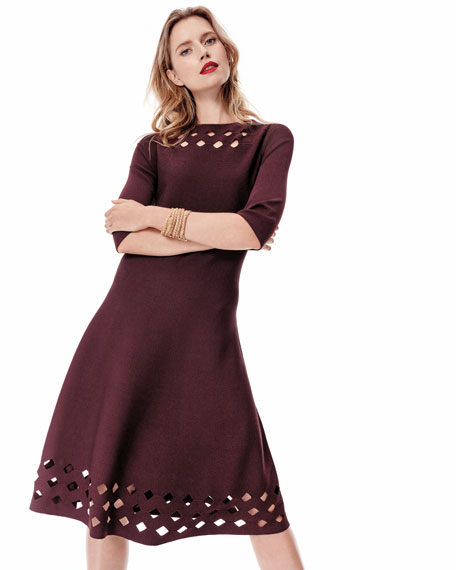 Time Out Twirl 3/4-Sleeve Cutout Dress, Plus Size