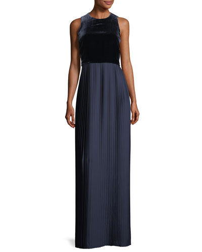 Marsiela Sleeveless Velvet Pleated Maxi Cocktail Dress