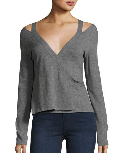 Glissade Heathered Wrap-Style Sweater, Gray