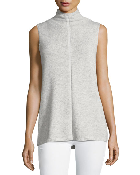 Vanise Sleeveless Mock-Neck Cashmere Sweater