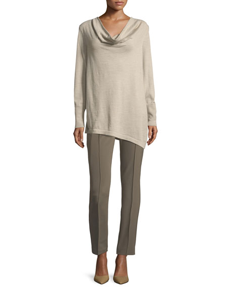 Asymmetric Cowl-Neck Merino Wool Sweater
