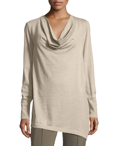 Lafayette 148 New York Asymmetric Cowl-Neck Merino Wool