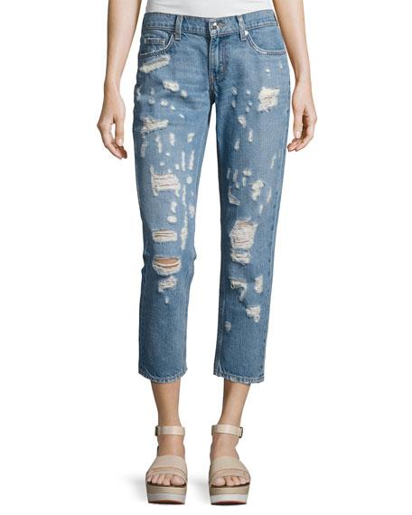 Mila Mid-Rise Slim Distressed Boyfriend Jeans