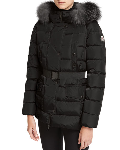 Moncler Clio Fur-Trim Belted Puffer Coat