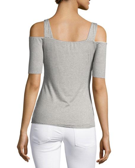 Battlement V-Neck Cold-Shoulder Stripe Top, Gray White Multi