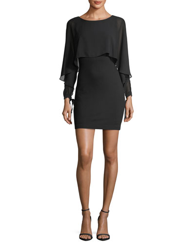 Dessous Long-Sleeve Boat-Neck Popover Dress