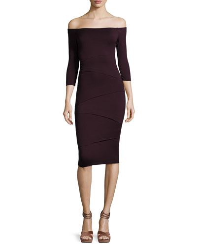 Degage Off-the-Shoulder Midi Dress, Purple