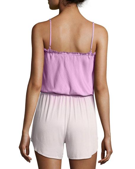 Deflano Lace-Front Romper, Purple Pattern