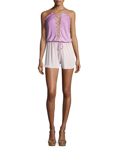 Deflano Lace-Front Romper, Purple Pattern