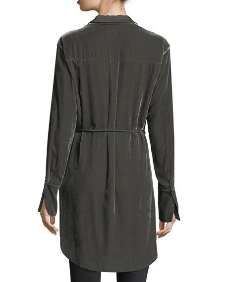 Jory Long-Sleeve Velvet Button-Down Tunic