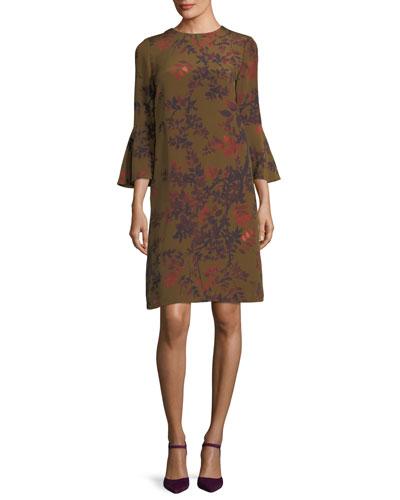 Sidra Bell-Sleeve Garden Floral Silk Dress
