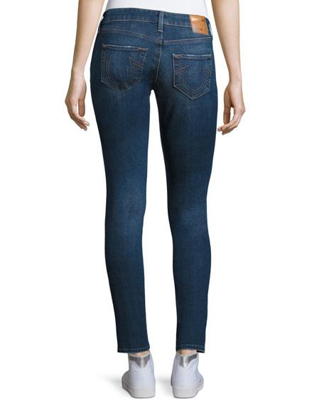 Jennie Twisted Seam Mid-Rise Skinny Jeans, Blue