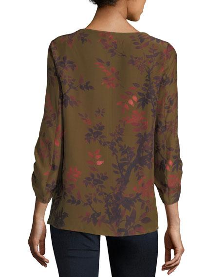 Elisio 3/4-Sleeve Kamakura Garden Floral Silk Blouse