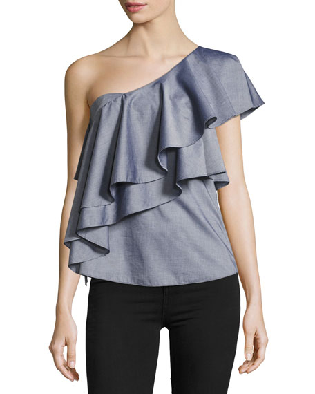 Milly Cascade One-Shoulder Cross-Dyed Italian Shirting Top
