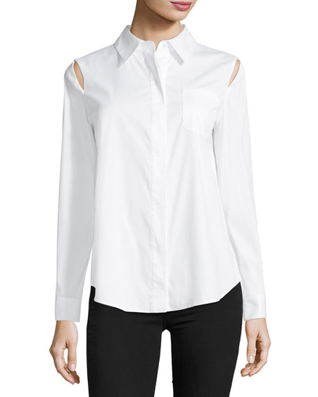 Milly Long-Sleeve Button-Front Slit-Shoulder Shirt