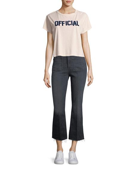 Patch Slacker Crop Fray Flared Jeans