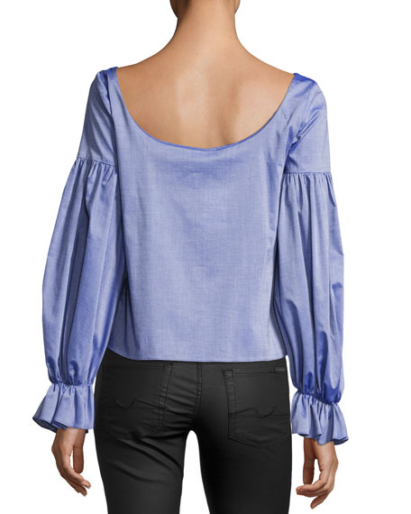 Linda Long-Sleeve Cross-Dyed Italian Shirting Top